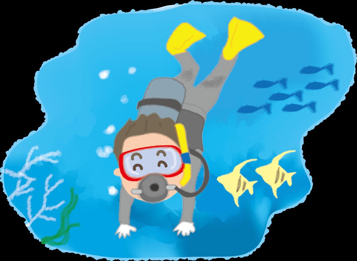 波の下の世界を散歩し、魚と戯れるスキューバダイビングでビジネスのストレスを発散